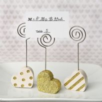 Gold & White Heart Shaped Place Card Holder